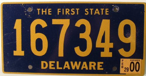 Delaware License Plate Non-Embossed Flat with Yellow Letters