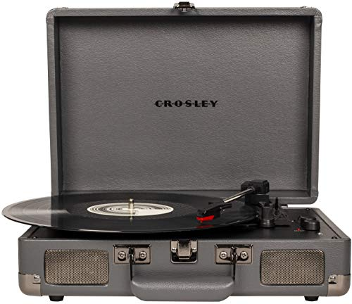 Crosley Cruiser Deluxe Vintage 3-Speed Bluetooth Suitcase Turntable, Slate