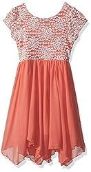 Girls Big Floral Sequin Lace Dress