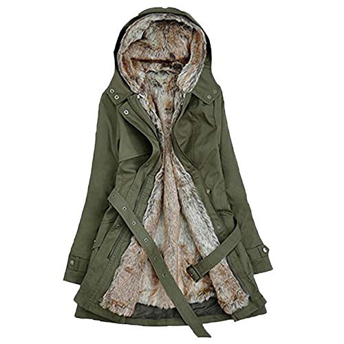 Women's Casual Winter Warm with Faux Fur Lined Zip Up Button Hooded Jacket Coat by Nevera Green by Nevera Women