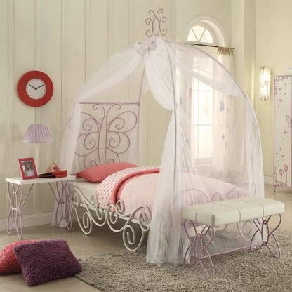 Hulaloveshop Unique Vintage Custom Kids Full Bed Princess with Canopy, White and Light Purple, Loft Style