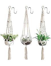3 x plantenhangers, macramé bloemenhanger, hangende bloempot met katoenen touw, bloemenhanger, plantenhanger voor binnen en buiten, plafonds, balkons, wanddecoratie