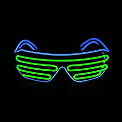 Blue + Light Green Shutter El Wire Flashing LED Sunglasses