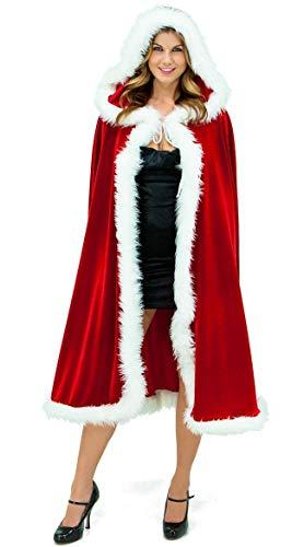 KAMA BRIDAL Women's Christmas Cloak Red Mrs Santa Claus Velvet Hooded Cape Robe L ()