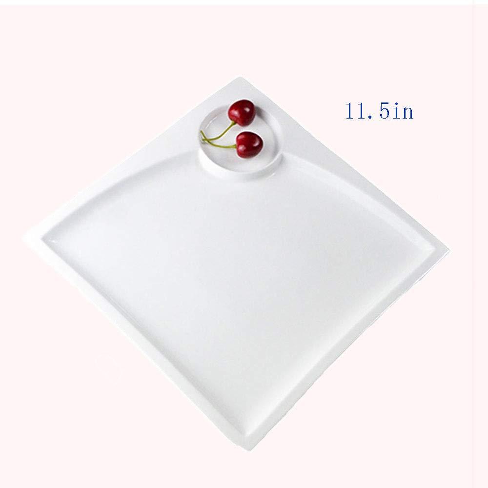 四角い寿司皿、真っ白なセラミック皿、サラダ皿、11.5インチ、さまざまなスタイルのキッチン付き (サイズ さいず : Quantity5) Quantity5  B07R1NY12F