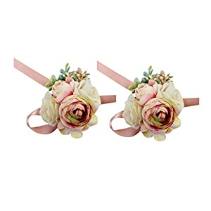 USIX 2pc Pack-Handmade Artificial Peony Flower Wrist Corsage With Satin Wristband for Girl Bridesmaid Wedding Party Prom Flower Corsage Hand Flower (Pink Wrist Corsage x2) 96