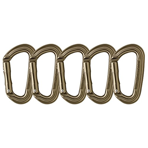 Fusion Climb Contigua II Military Color Edition Grooved Straight Gate Key Nose Carabiner Dusty Brown 5-Pack by Fusion Climb