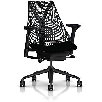 Herman Miller Sayl Task Chair: Tilt Limiter with Seat Angle Adjustment - Adj Lumbar Support - Adj Seat Depth - Fully Adj Arms - Standard Carpet Casters - Black Base & Frame