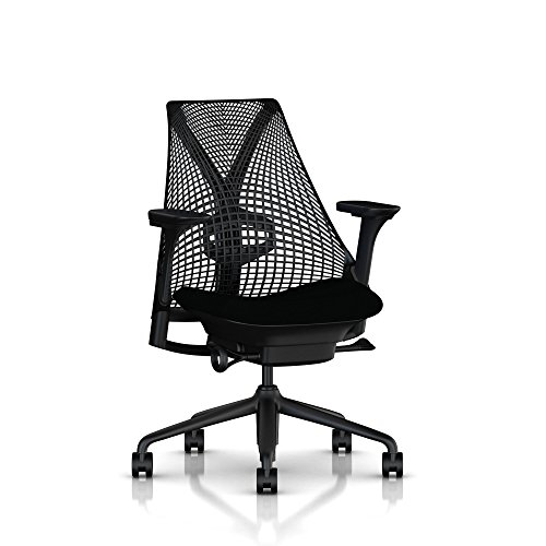 Herman Miller Sayl Task Chair: Tilt Limiter with Seat Angle Adjustment - Adj Lumbar Support - Adj Seat Depth - Fully Adj Arms - Standard Carpet Casters - Black Base (Herman Miller Office Table)
