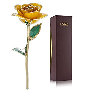 ZJchao Yellow Gold Rose, Long Stem 24k Rose Dipped Rose Flower, Best Gift for Valentine's Day, Mother's Day, Anniversary and Birthday (Yellow) 112