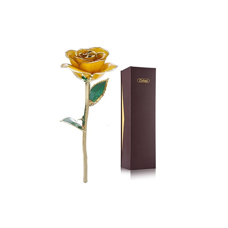 silk flower arrangements zjchao 24k yellow rose for her, eternal eternity love real gold plated rose flower, romantic present for wife, girlfriend, anniversary, parting, apologize (yellow)