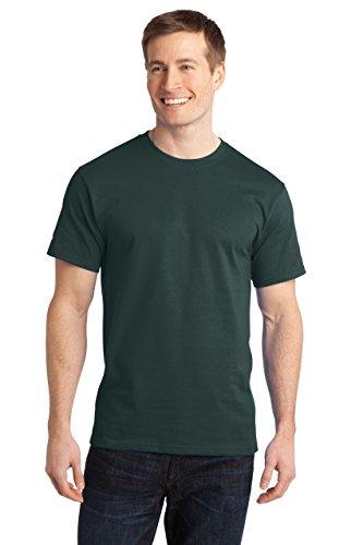 Sportoli Men's Comfort Soft Cotton Crew Neck Short Sleeve Tagless Long T-Shirt - Dark Green 4 Pack (Size XL)