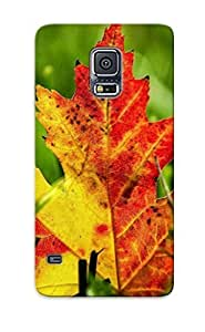 Catenaryoi Rugged Skin Case Cover For Galaxy S5- Eco-friendly Packaging(leaf )