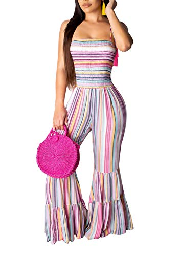 - LKOUS Womens Summer Casual Jumpsuits Striped Bodycon Spaghetti Strap Sleeveless Long Flared Pants Romper One Piece Outfit