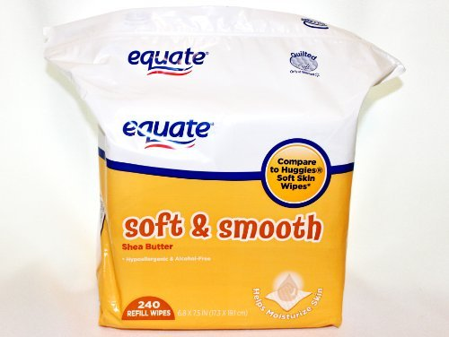 Equate Soft & Smooth Shea Butter Baby Wipes Refill 240 Count