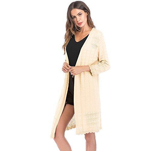 Makeupstore Women's Gradient Solid Long Cardigan tops Coat,Retro Hollow Autumn Thin Outwear Long Sleeve blouse jacket by Makeupstore