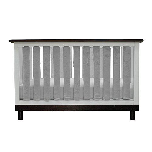 PURE SAFETY Vertical Crib Liners 38 Pack in Luxurious Grey Minky