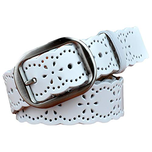 (Ayli Women's Classic Metal Buckle Hollow Floral Genuine Leather Jean Belt, Free Gift Box, White, Fits Waist 28