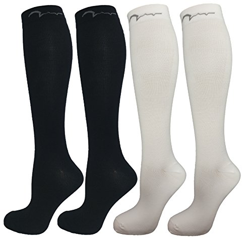 - Boys & Girls Sport, Soccer, Football Long Compression Socks. Knee High 4 Pack for Kids and Youth Gift Set Small/Medium (fits Ages 5-9). 2 Black & 2 White