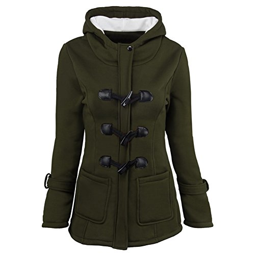 YOUR GALLERY Women's Fleece Horn Button Jacket Coat Slim Fit Hooded Tracksuit Overcoat,Army Green-S