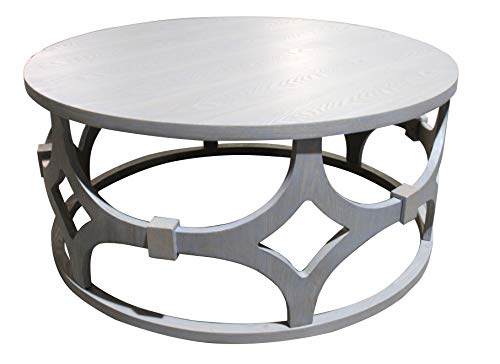 """Armen Living LCTUCOGR Tuxedo Contemporary 42"""" Round Wood and Metal Coffee Table"""