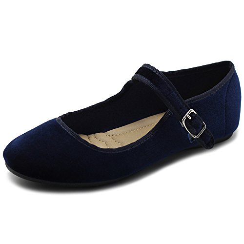 (Ollio Women's Shoes Velvet Mary Jane Ballet Flat ZY00F56 (9 B(M) US, Navy))