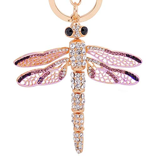 EASYA Dragonfly Keychain Crystal Movable Wings Key Ring Women Handbag Charm Pendant Purse Key Ring Boutique Gift for Friends,Purple -