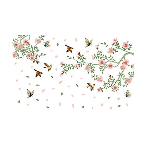 Aardich Wall Sticker Removable, Falling Flowers and Birds Vinyl Wall Decal Creative Wall Sticker Removable Art Wall Paper for Bedroom, Living Room, Kids Room