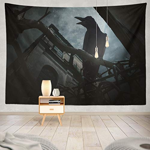 KJONG Sit Tree Trunk and Old Grunge Castle Moon and Sky Halloween Halloween Creepy Decorative Tapestry,60X80 Inches Wall Hanging Tapestry for Bedroom Living Room