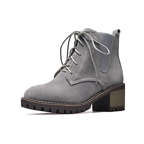 Booties Tie Heel Boots Women's Grey Toe Round HSXZ Fashion Winter leather Chunky ZHZNVX Ankle Nubuck Fall for Casual Combat Boots Shoes Boots Boots Ribbon ROqaPn5xw