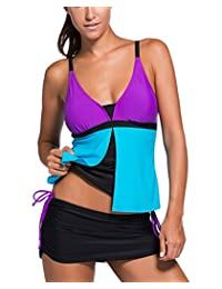 Amstt Womens Summer Colorblock Tankini Top and Bottom Set Swimsuit Bikini