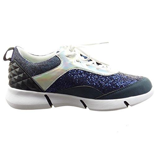 Sopily - Scarpe da Moda Sneaker alla caviglia donna lucide paillette Tacco a blocco 3.5 CM - Blu