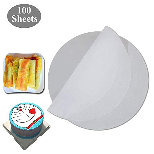 100 Count Edible Spring Roll Rice Paper Wrapper(Round),8.8 inches in diameter,Rice Paper for cakes, cupcakes,Fried food wrapped icing Decorations