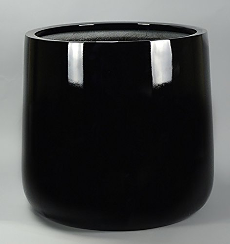 Shiny Black Round Fiberglass Planter - Round Bottom Flower Pot 20''H x 20'' Diameter - by VaseSource by Vase Source