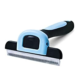 CELEMOON Pet Grooming Brush Deshedding Tool with Premium Stainless Steel Safety Blade for Small, Medium & Large Dogs/Cats with Short to Long Hair, Blue (L)