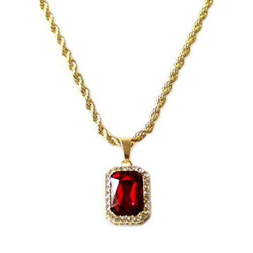 18k Ruby Necklace (HH Bling Empire Mens Celebrity Style Hip Hop 18k Gold Synthetic Ruby Diamond Pendant Necklace)