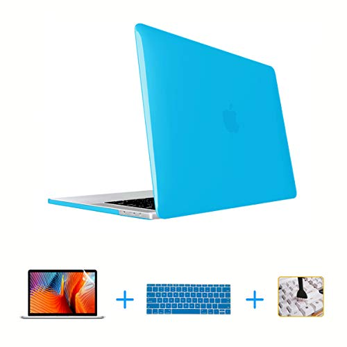 VAESIDA Laptop Case,Plastic MacBook Case,Hard Shell Cover, Keyboard Cover, Screen Protector for MacBook Pro 15 Inch Case 2018 2017 2016 Release A1990/A1707 Touch Bar Models (Crystal Aqua Blue)