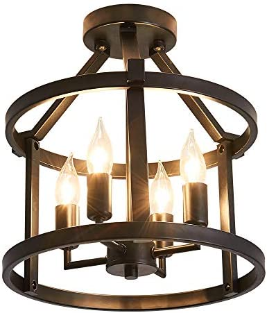 Metal Ceiling Light Fixture 4 Candle Holder Lights Retro Vintage Industrial Rustic Hanging Chandelier Lamp Lighting Fixtures for Farmhouse Kitchen Livingroom Bedroom