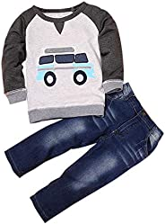 Clearance Baby Boy Clothes Toddler Car Print T-Shirt Pullover Denim Jeans Pants 2 Pcs Outfits Set