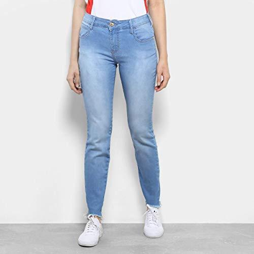 7a587f311 Calça Jeans Skinny Coca-Cola Barra Desfiada Cintura Média Feminina - Azul  Claro - 40 ...