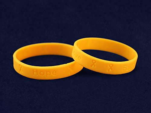 50 Pack Gold Ribbon Awareness Silicone Bracelets (50 Adult Bracelets In a Bag) by Fundraising For A Cause (Image #3)