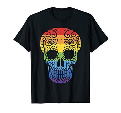 Rainbow Sugar Skull Day Of The Dead LGBT Gay Pride Flag T-Shirt