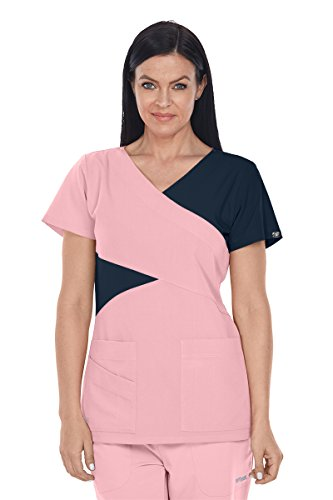Grey's Anatomy Signature 2140 Contrast Mock Wrap Top Rose Blush/Graphite XL - Mock Wrap V-neck Scrub Top