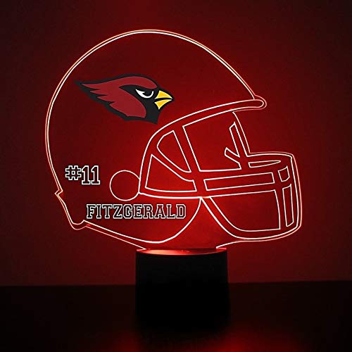 Mirror Magic Store Arizona Cardinals Football Helmet LED Night Light with Free Personalization - Night Lamp - Table Lamp - Featuring Licensed Decal ()
