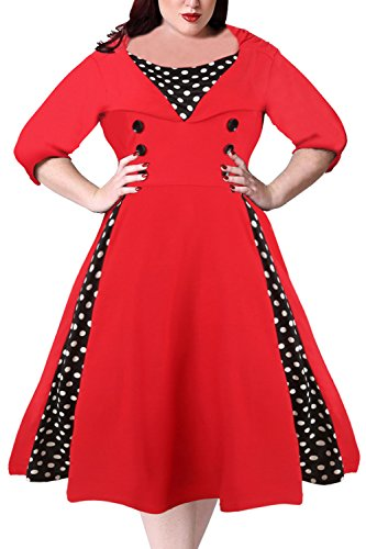 Nemidor Women's Half Sleeves 1950s Vintage Style Plus Size Swing Dress (20W, Red)