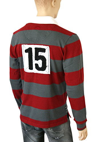 Grassington Rugby Shirt in Grey/Red ...