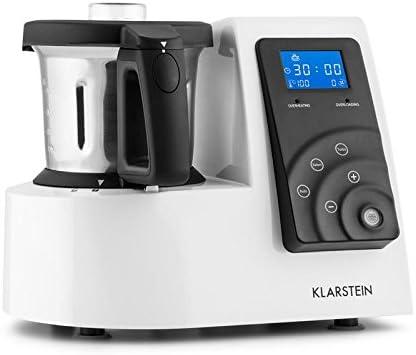Klarstein Kitchen Hero 9-en-1 - Robot de cocina, batidora, picadora, cocción, vaporizador, picador de hielo / 1300 W, 2 litros de capacidad, varios programas, recetario incluido (idioma español no garantizado), color blanco