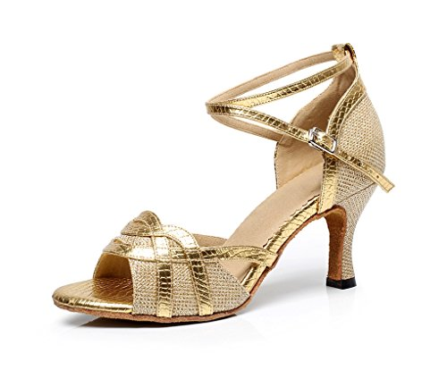 Minishion Qj7027 Femmes Paillettes Flare Talon Chaussures De Danse Latine Élégant Or