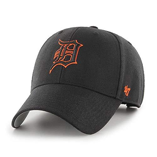 '47 Brand MVP Black Adjustable Hat Detroit Tigers Orange Outline