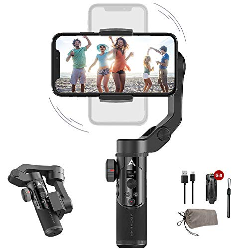 3-Axis Handheld Gimbal Stabilizer for iOS Android Smartphone Foldable Small Pocket Size 280g Load Max,AOCHUAN Smart XR